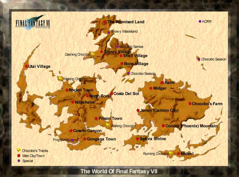 Final Fantasy VII / FFVII / FF7 - World Map